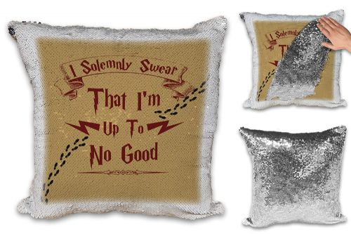 I Solemnly Swear That I'm up to No Good Funny Sequin Reveal Magic Cushion Cover